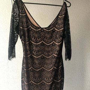 Fitted, Black & Nude Lace Dress - Guess